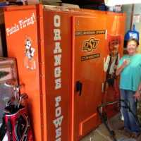 OSU orange Pistol Pete tornado shelter by Tornado Alley Armor Safe Rooms